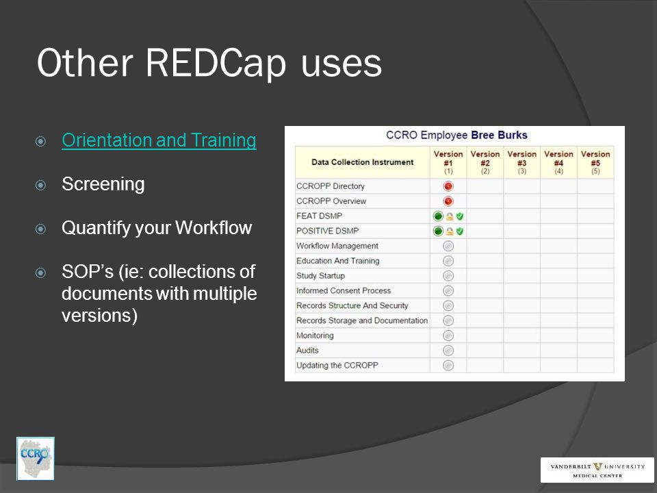 Other REDCap uses Orientation and Training Screening