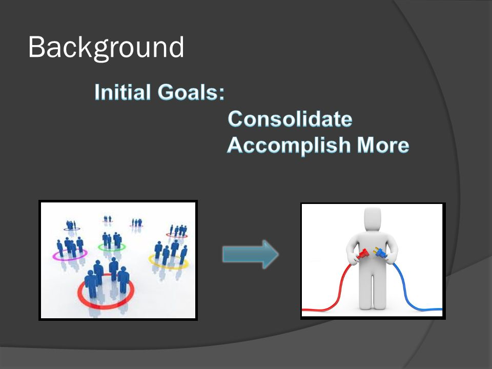 Background Initial Goals: Consolidate Accomplish More