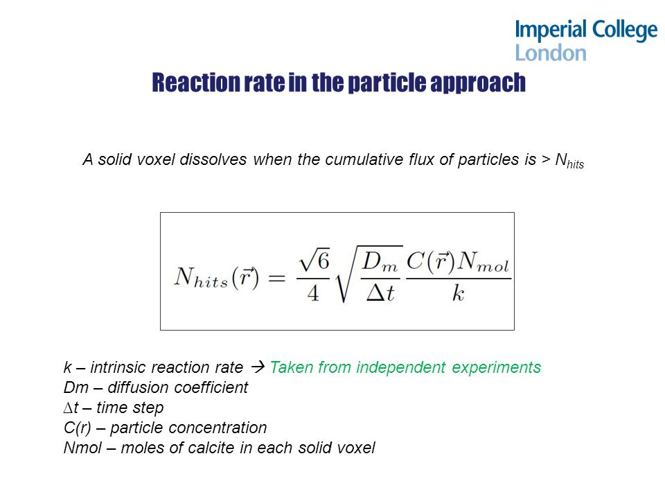 Reaction rate in the particle approach