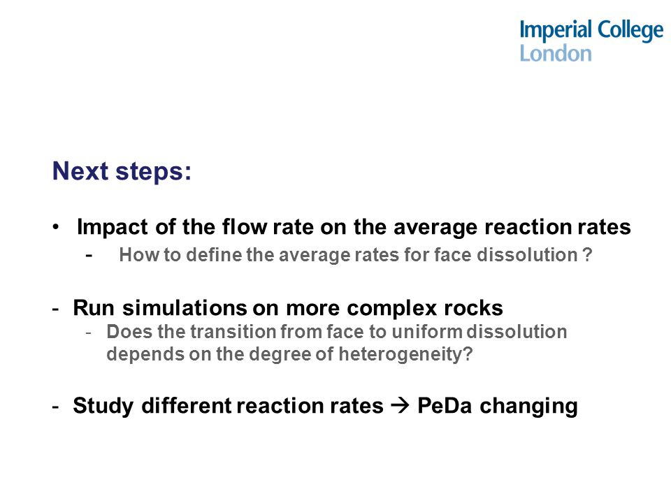 Next steps: Impact of the flow rate on the average reaction rates