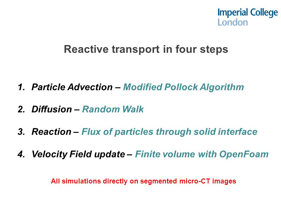 Reactive transport in four steps