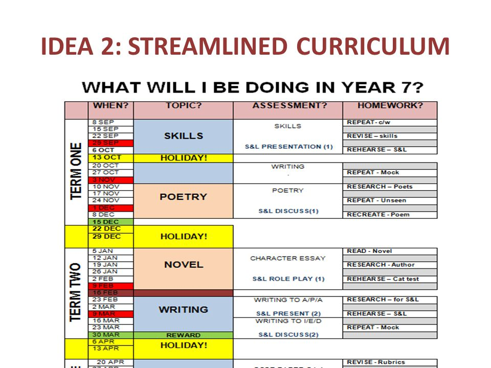 IDEA 2: STREAMLINED CURRICULUM
