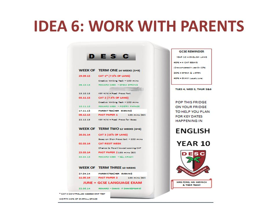 IDEA 6: WORK WITH PARENTS
