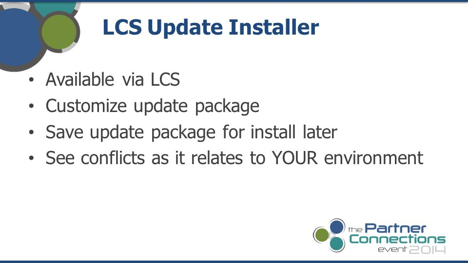 LCS Update Installer Available via LCS Customize update package
