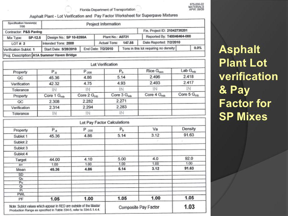 Asphalt Plant Lot verification & Pay Factor for SP Mixes