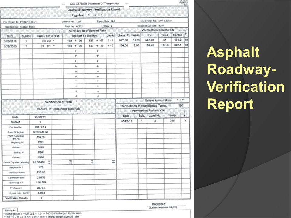 Asphalt Roadway- Verification Report