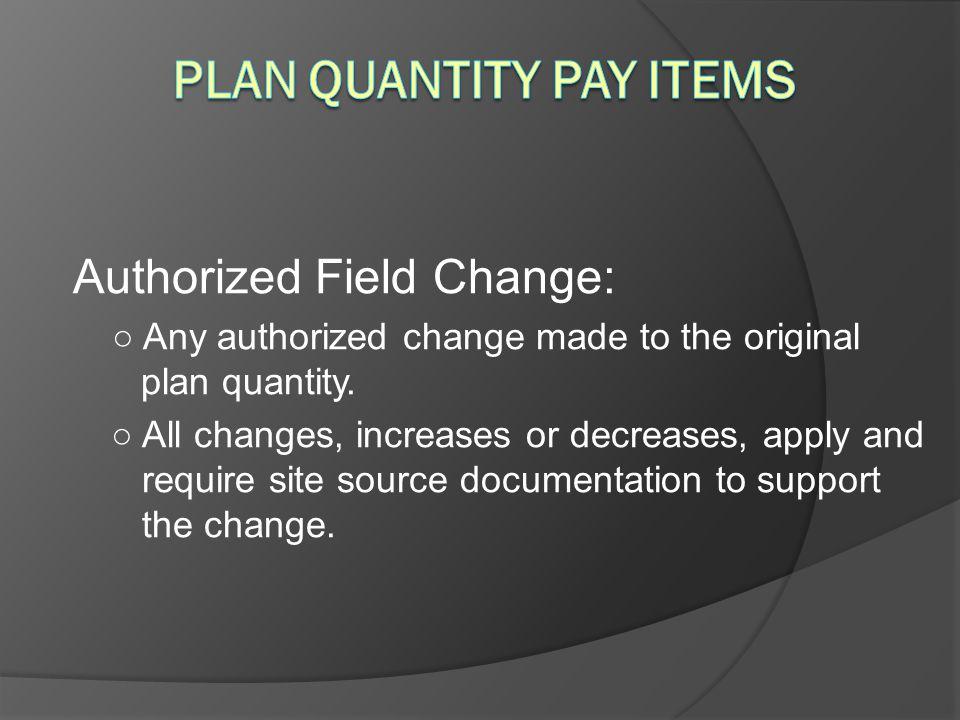 Plan Quantity Pay Items