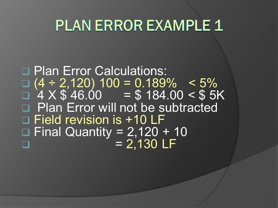 Plan Error Example 1 Plan Error Calculations: