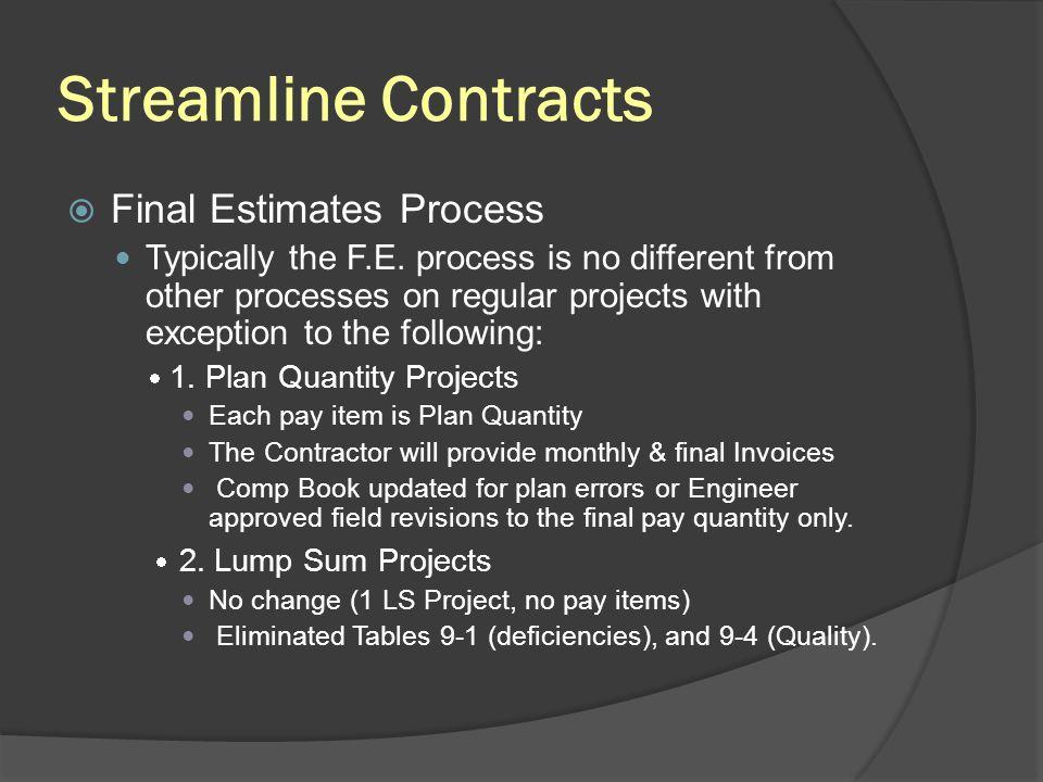 Streamline Contracts Final Estimates Process
