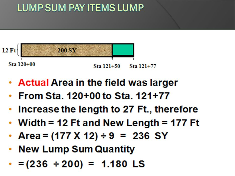 Lump Sum Pay Items LUMP