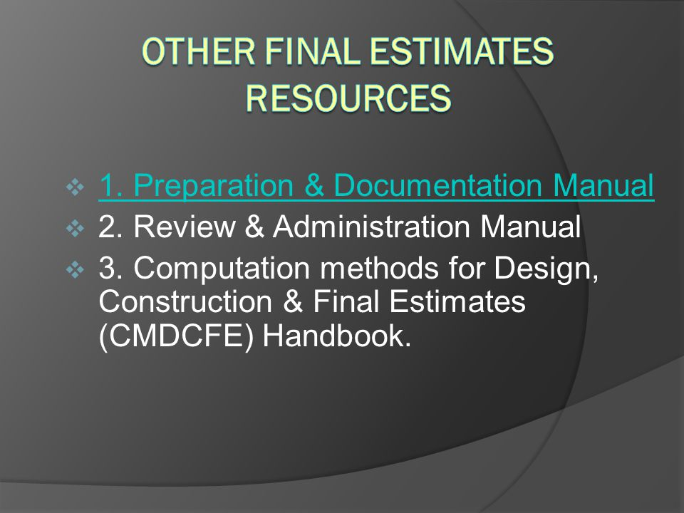 Other Final Estimates Resources