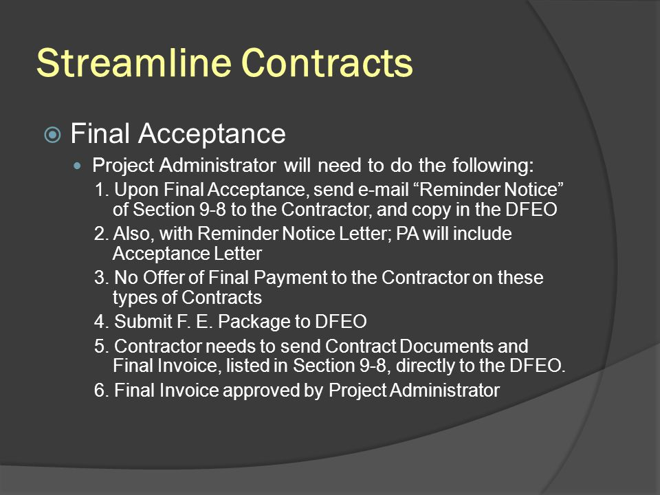 Streamline Contracts Final Acceptance