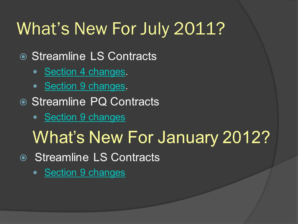 What's New For July 2011 What's New For January 2012