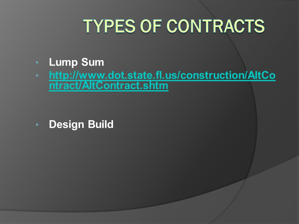 Types of Contracts Lump Sum
