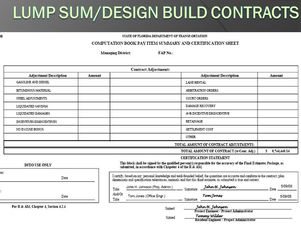 Lump Sum/Design Build Contracts