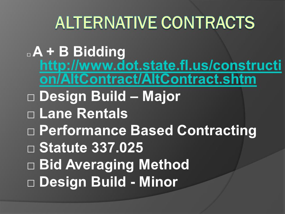 Alternative Contracts
