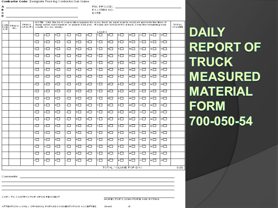Daily Report of Truck Measured Material Form 700-050-54