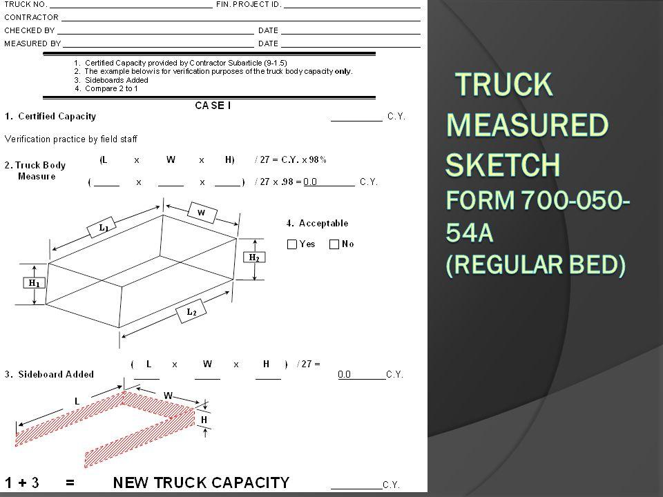 Truck Measured Sketch Form 700-050-54A (Regular Bed)