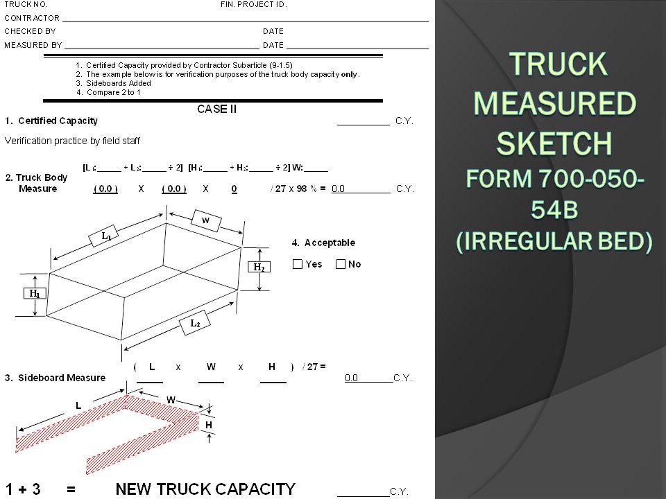 Truck Measured Sketch Form 700-050-54B (Irregular Bed)