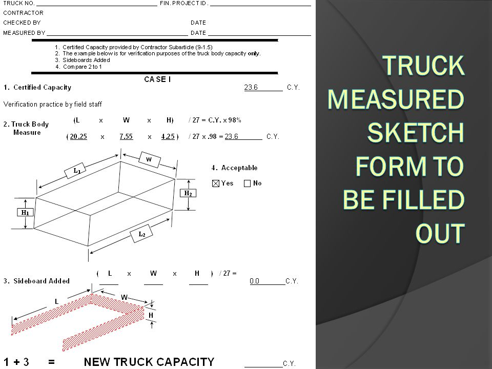 Truck Measured Sketch form to be filled out