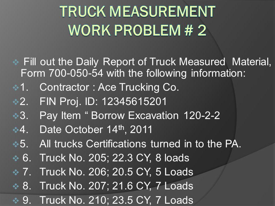 Truck Measurement Work problem # 2