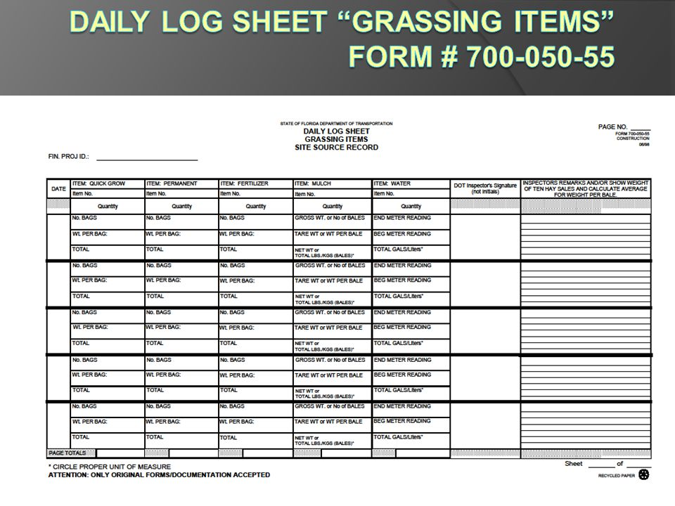 Daily Log Sheet Grassing Items Form # 700-050-55