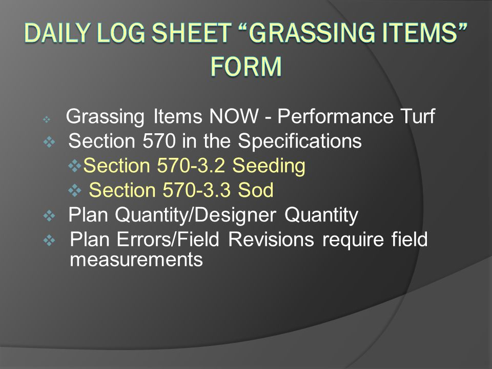 Daily Log Sheet Grassing Items Form