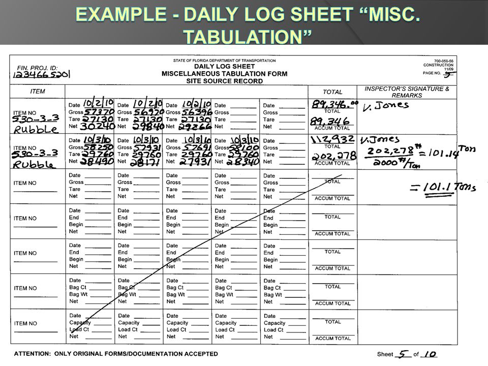 Example - Daily Log Sheet Misc. Tabulation Form # 700-050-56