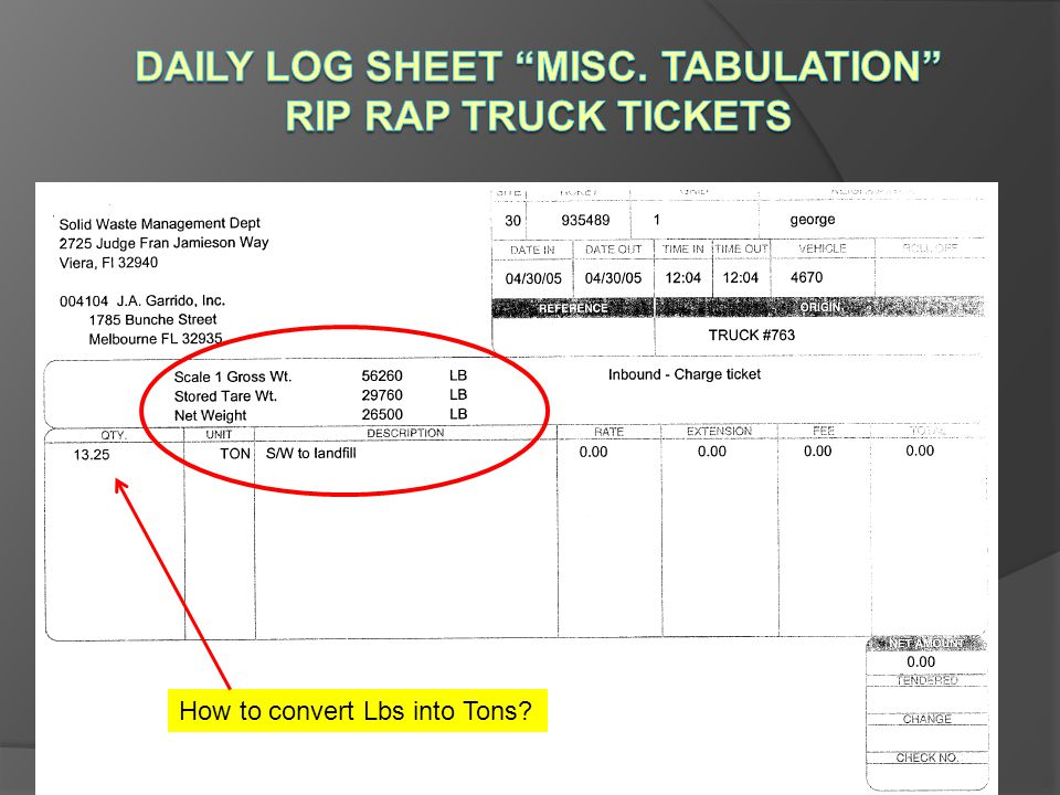 Daily Log Sheet Misc. Tabulation Rip Rap Truck Tickets