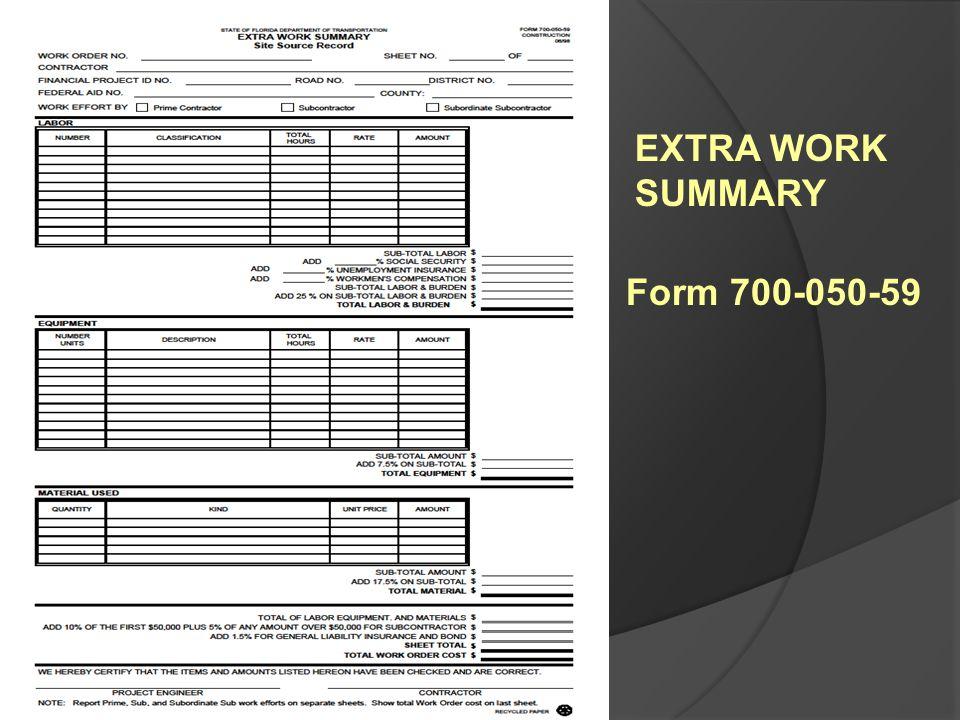 EXTRA WORK SUMMARY Form 700-050-59