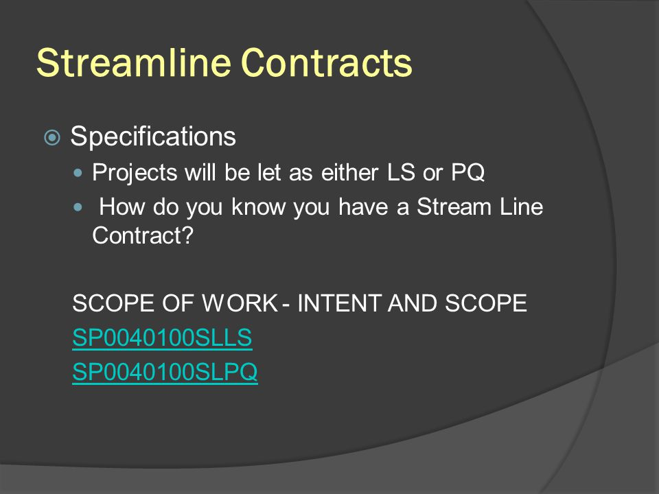Streamline Contracts Specifications