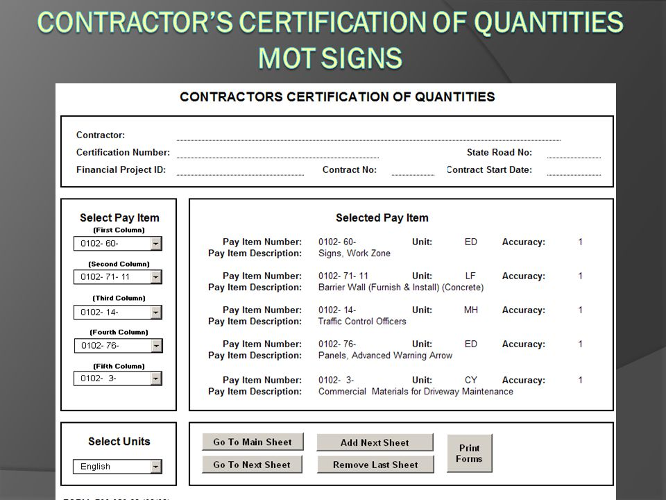 Contractor's Certification of Quantities MOT Signs