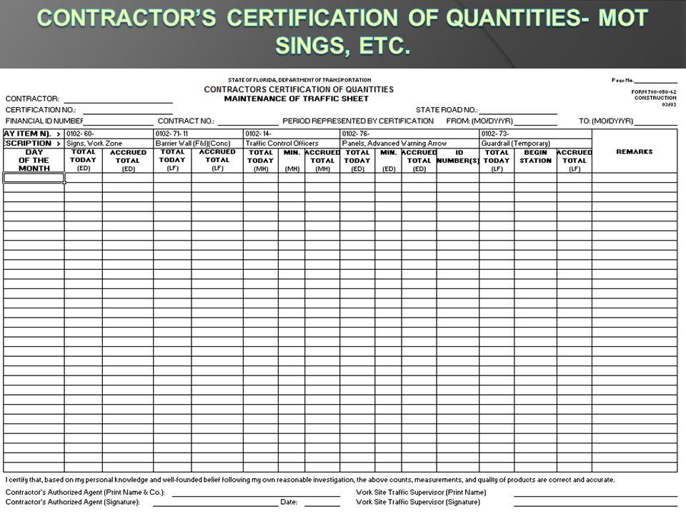Contractor's Certification of Quantities- MOT Sings, etc.