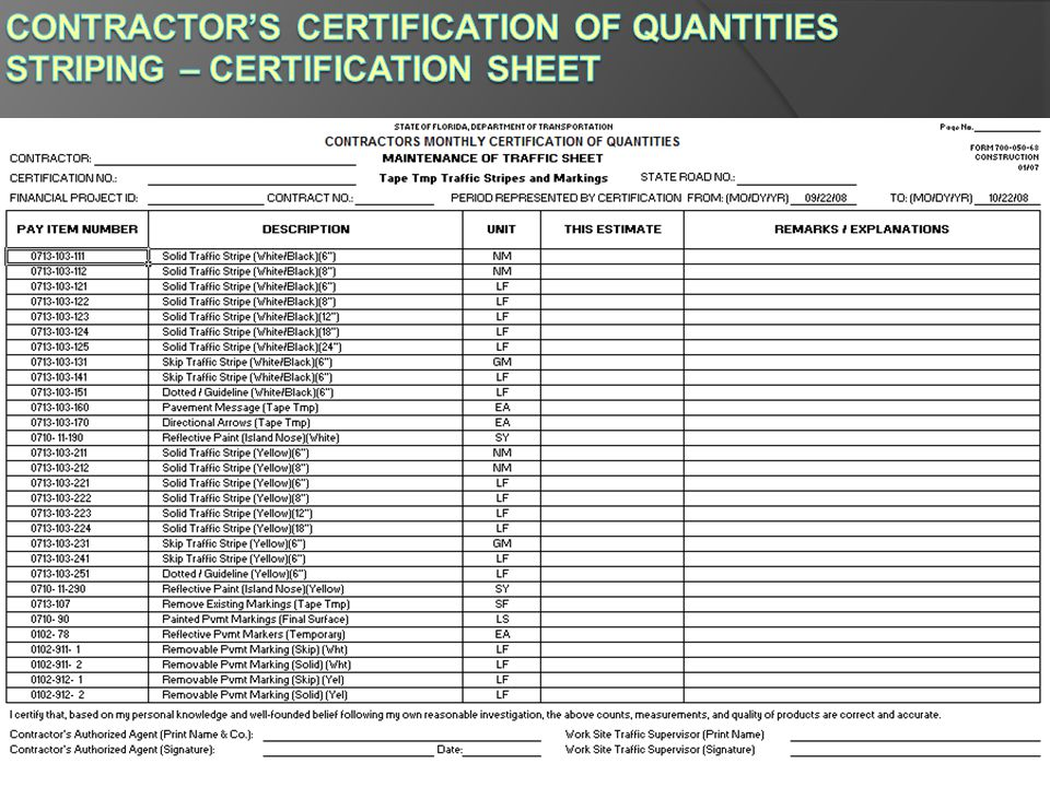 Contractor's Certification of Quantities Striping – Certification Sheet