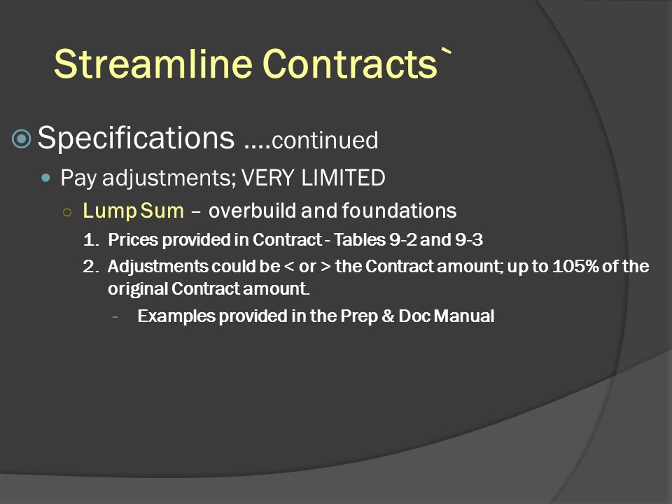 Streamline Contracts`