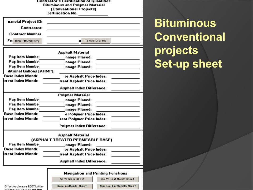 Bituminous Conventional projects