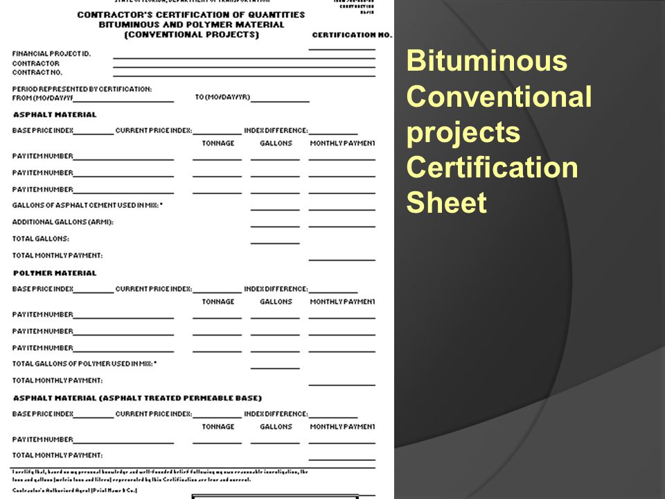 Conventional projects Certification Sheet