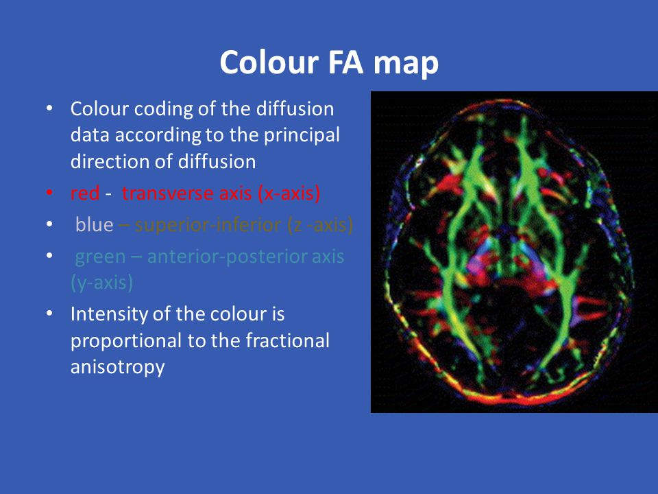 Colour FA map Colour coding of the diffusion data according to the principal direction of diffusion.