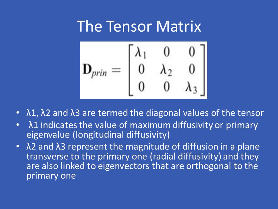 The Tensor Matrix λ1, λ2 and λ3 are termed the diagonal values of the tensor.