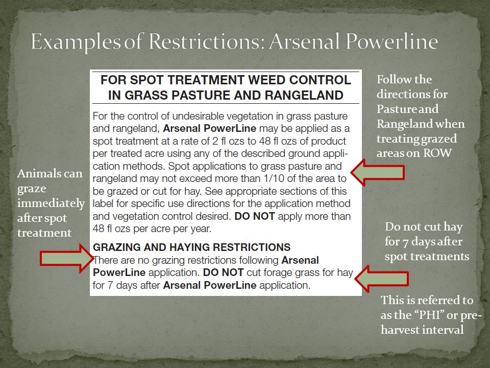 Examples of Restrictions: Arsenal Powerline