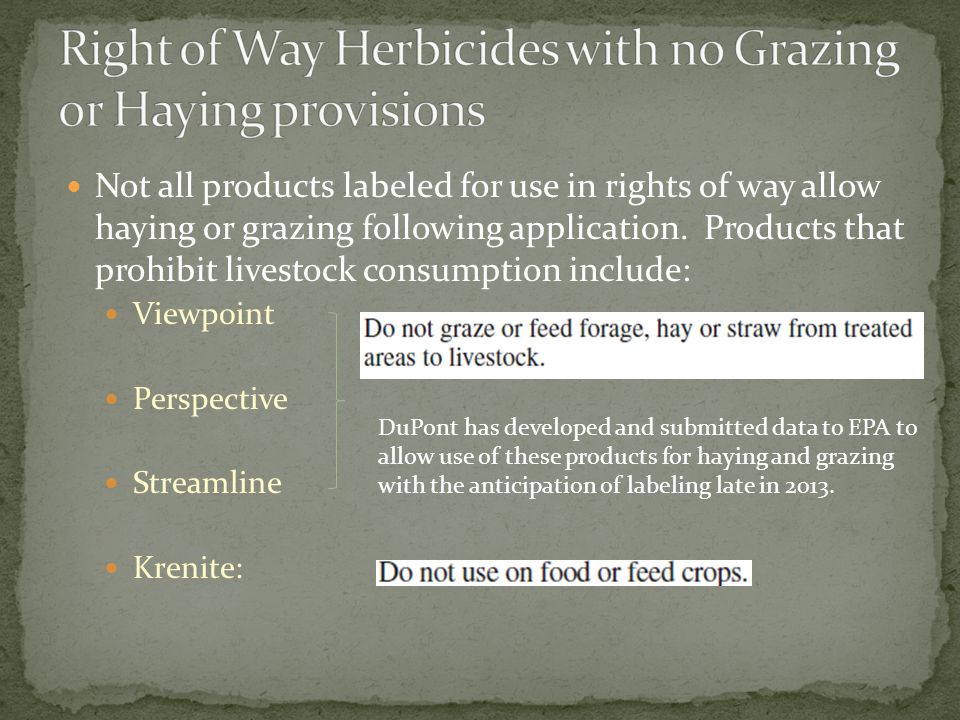 Right of Way Herbicides with no Grazing or Haying provisions
