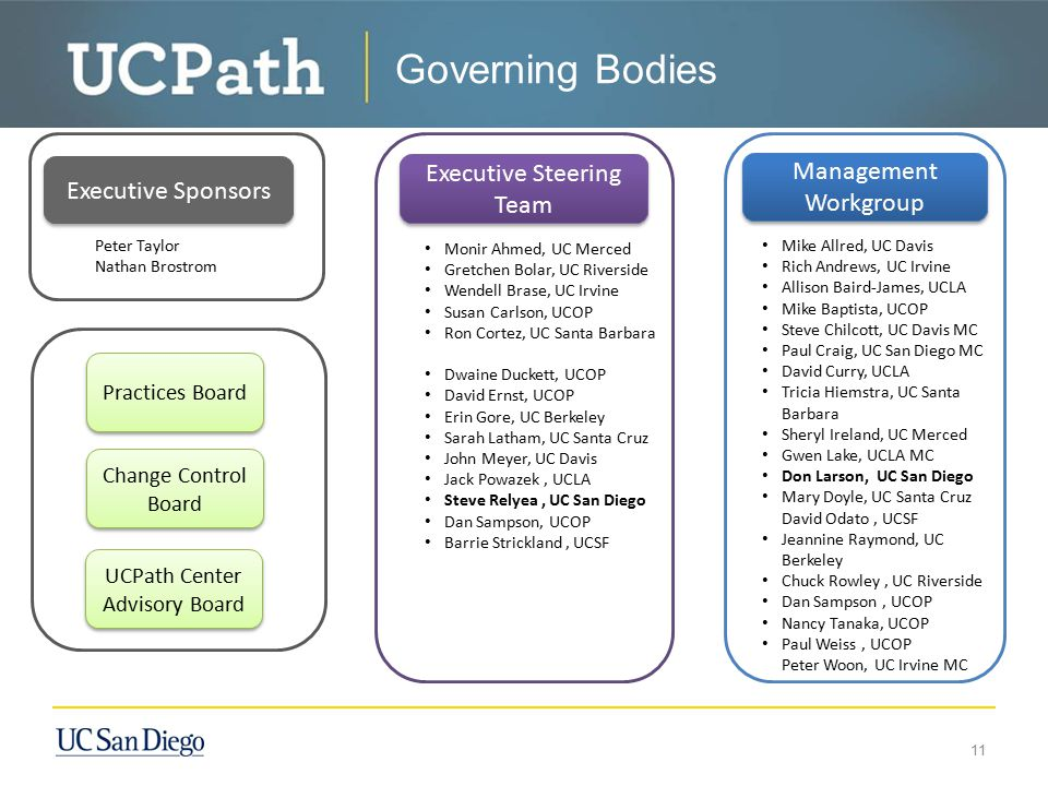 Governing Bodies Executive Steering Team Management Workgroup