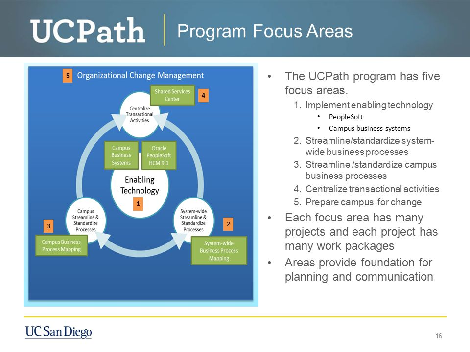 Program Focus Areas The UCPath program has five focus areas.