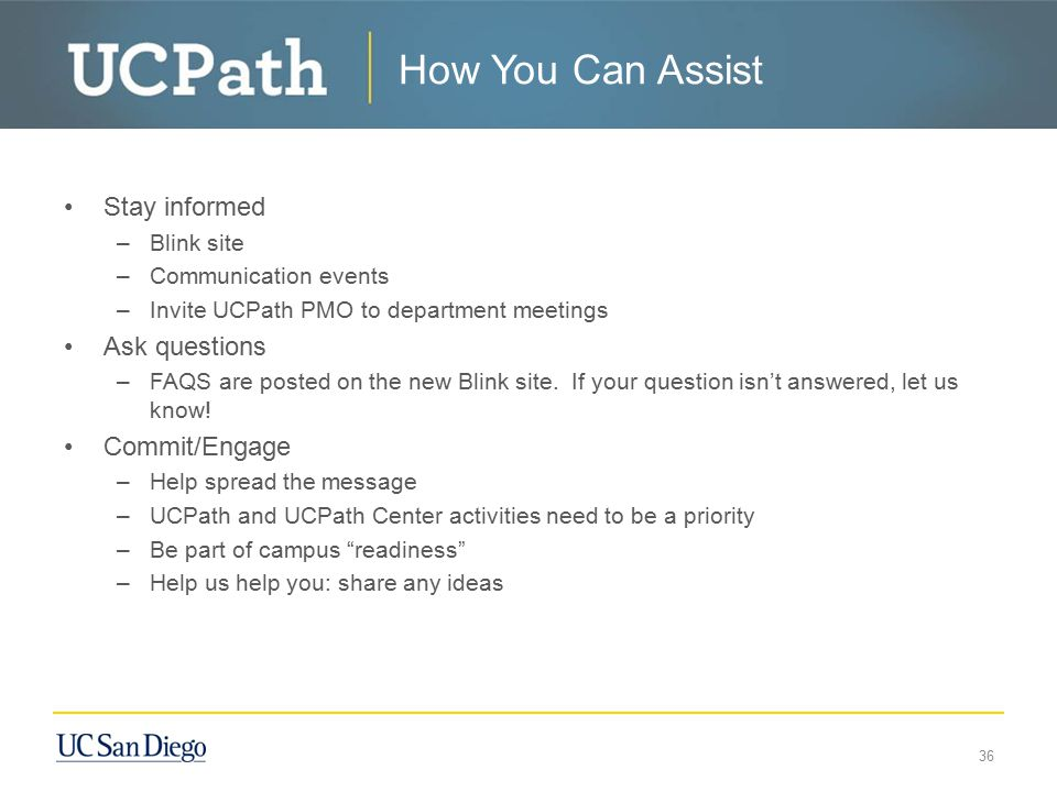 How You Can Assist Stay informed Ask questions Commit/Engage