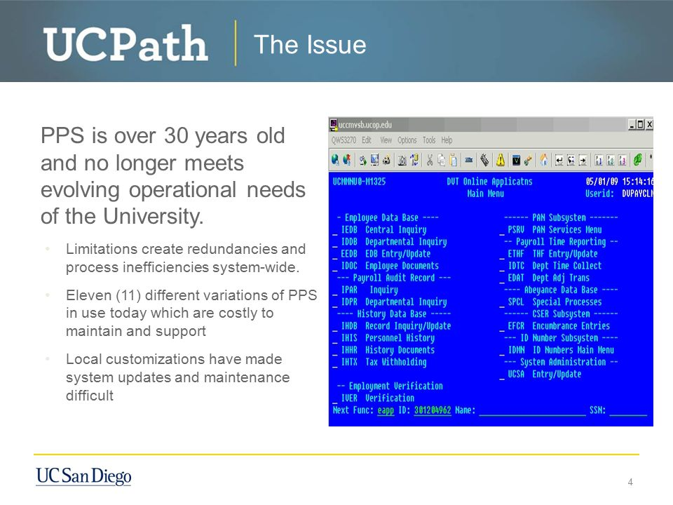 The Issue PPS is over 30 years old and no longer meets evolving operational needs of the University.