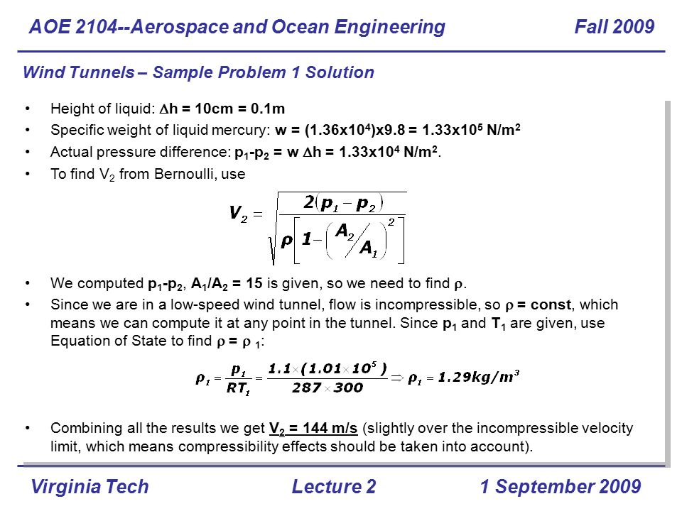 AOE Aerospace and Ocean Engineering Fall 2009