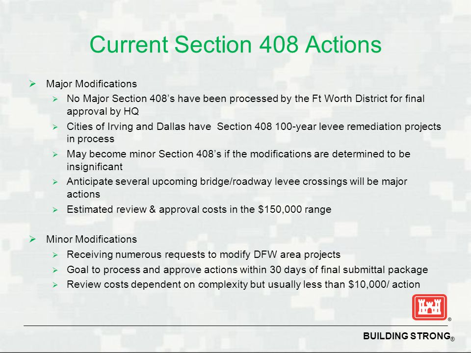 Current Section 408 Actions