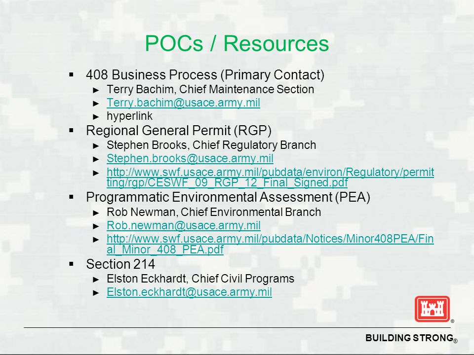 POCs / Resources 408 Business Process (Primary Contact)