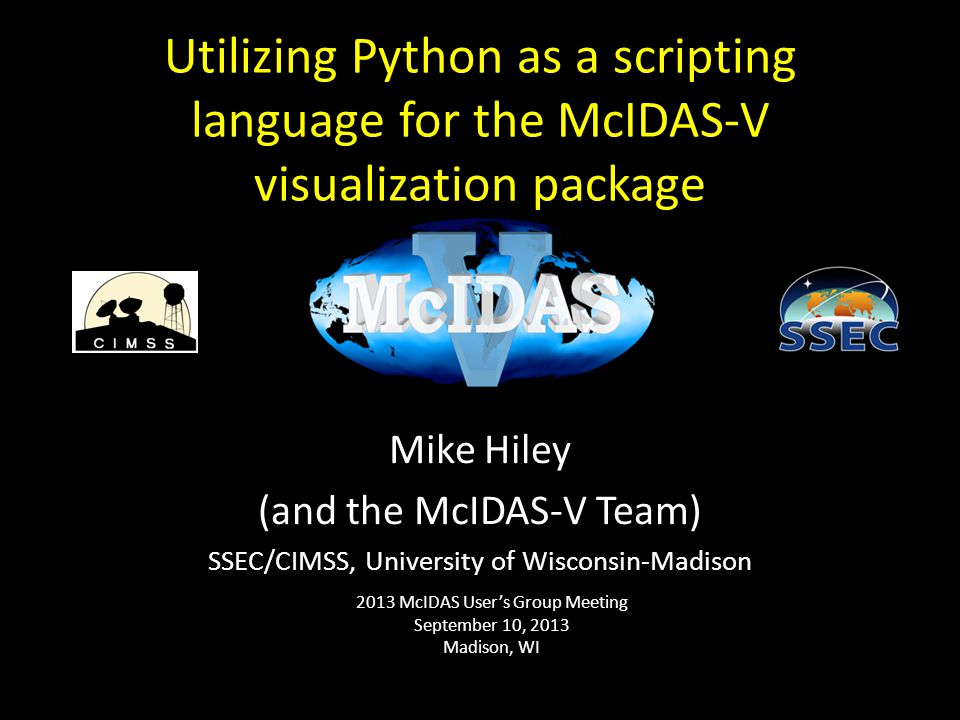 Utilizing Python as a scripting language for the McIDAS-V visualization package