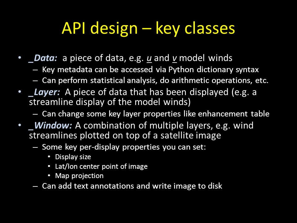 API design – key classes
